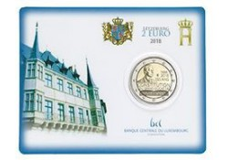 2 Euro Luxemburg 2018 150 jaar Grondwet Bu in coincard met muntteken Servaas