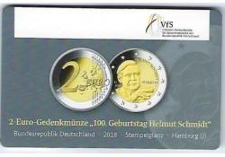 2 Euro Duitsland 2018 J Helmut Schmidt in coincard