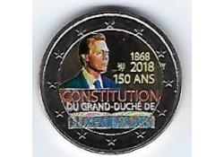 2 Euro Luxemburg 2018 150 jaar Grondwet Gekleurd