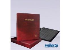 Gewatteerd Album incl. Cassette,  Bordeauxrood met goudopdruk, incl. 5 muntbladen en zwarte schutbladen