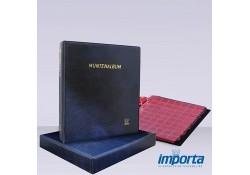 Gewatteerd Album incl. Cassette,  Blauw met goudopdruk, incl. 5 muntbladen en rode schutbladen