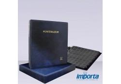 Gewatteerd Album incl. Cassette, Blauw met goudopdruk, incl. 5 muntbladen en zwarte schutbladen