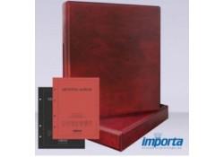 Gewatteerde band incl. Cassette Bordeauxrood, zonder goudopdruk met rood & zwart voorblad