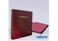 Gewatteerd Album,   Bordeauxrood met goudopdruk,  incl. 5 muntbladen en rode schutbladen