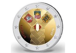 2 Euro Letland 2018 Baltische staten Gekleurd