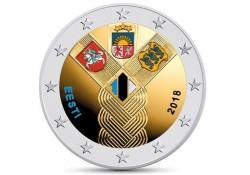 2 Euro Estland 2018 Baltische staten Gekleurd
