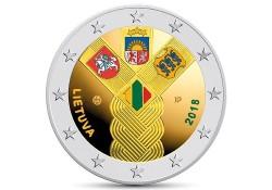 2 Euro Litouwen 2018 Baltische staten Gekleurd