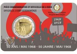 2 Euro België 2018 '50 jaar 1968' Bu in coincard Waals Voorverkoop*