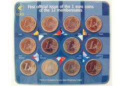 2002 First Official Issue 12X 1 euro mix jaren