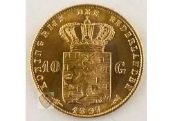 10 Gulden 1897 Wilhelmina Goud Parels vast