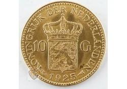 10 Gulden 1925 Wilhelmina Goud A Diadeem onder de I & N