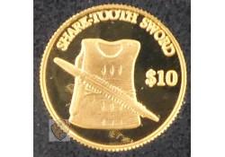 Kiribati 2000 10 Dollar Goud Sharltooth Sword