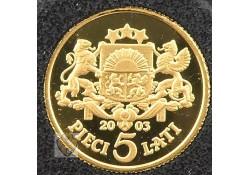 Letland 2003 5 Lati Goud Wapenschilden
