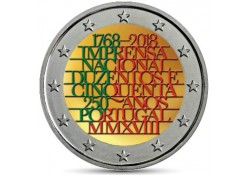 2 Euro Portugal 2018 National Printing House Unc Gekleurd