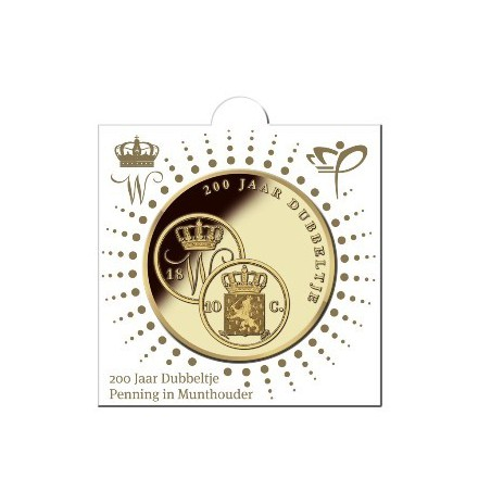 Nederland 2018 Penning 200 jaar dubbeltje 1818 In munthouder