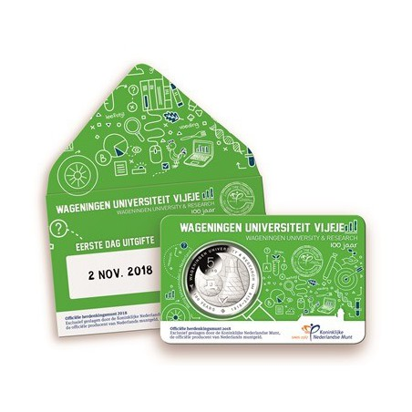 Nederland 2018 5 Euro Universiteit Wageningen Bu in coincard Voorverkoop*