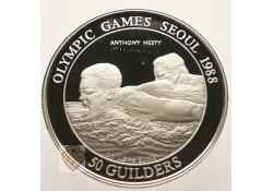 Suriname 1988 50 gulden Seoul Incl dsje & cert