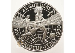 25 Gulden Suriname 1990 Zilver proof Ruud Gullit