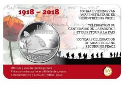 België 2018 5 Euro '100 jaar wapenstilstand en herintreding vrede' Bu in coincard