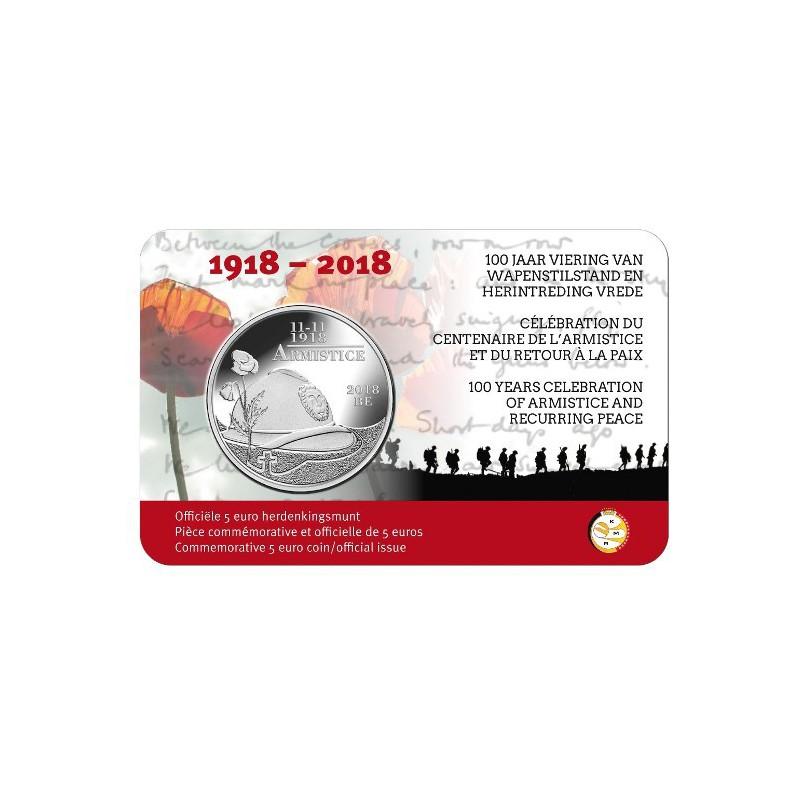 België 2018 5 Euro '100 jaar wapenstilstand en herintreding vrede'in coincard Voorverkoop*