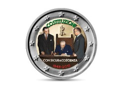 2 Euro Italië 2018 70 jaar Italiaanse Grondwet Gekleurd