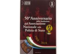 """Italië 2018 5 euro """"50 jaar nationale politie"""" Zilver"""
