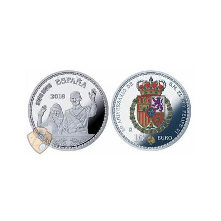 "Spanje 2018 10 Euro ""Felipe VI Huwelijk""  Zilver proof"