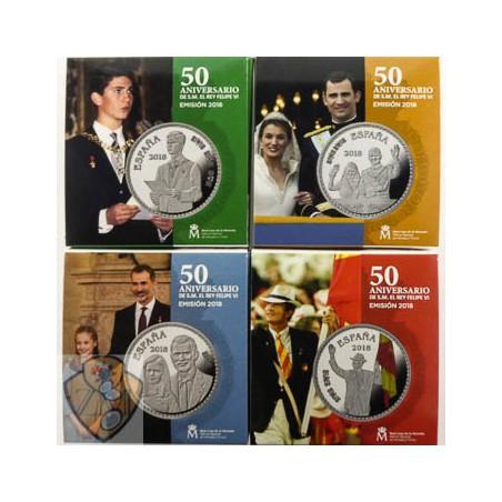 "Spanje 2018 10 Euro  ""Felipe VI 50 jaar "" Zilver Proof Serie van 4 stuks"
