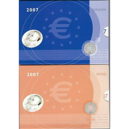 Baby set 2007 Jongen & Meisje met zilveren penning Zeldzaam!