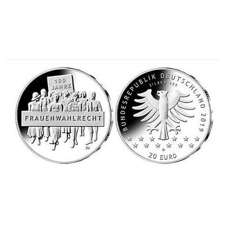 """20 Euro Duitsland 2019 D  """"Vrouwenstemrecht"""" Unc"""