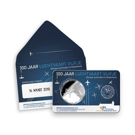 Nederland 2019 Het Luchtvaart vijfje Bu in coincard Voorverkoop*