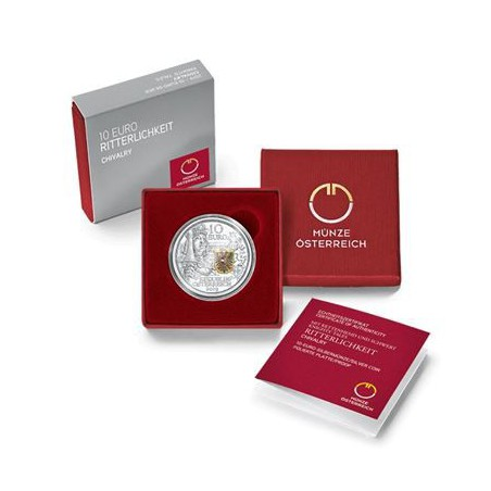 10 Euro Oostenrijk 2019 Ridder zilver Proof Gekleurd.Voorverkoop*