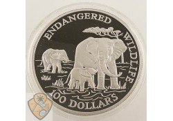 Cook Islands 1991 100 Dollar Endagered Wildlife 5 Ounce Zilver proof