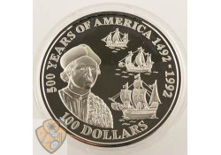 Cook Islands 1992 100 Dollar 500 Years of America 5 Ounce Zilver proof