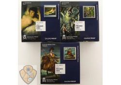 Spanje 2019 3 x 10 euro Prado Museum Zilver proof.