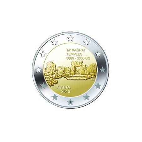 2 Euro Malta 2019 Hagrat tempels met F in ster