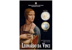 2 Euro Italië 2019  Leonardo Da Vinci Bu in blister met extra de 1 euromunt.