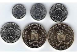 Jaarserie Nederlandse Antillen 2016 1-5-10-25 cent  1 &5  gulden