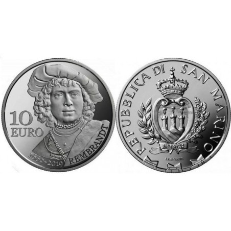 San Marino 2019 10 euro Rembrandt Zilver Proof