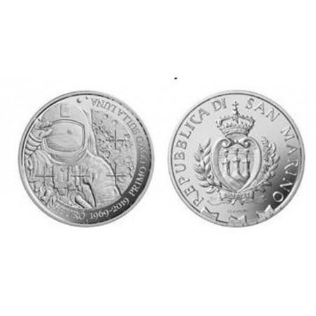 San Marino 2019 5 Euro '50 jaar eerste mens op de maan' Zilver Proof