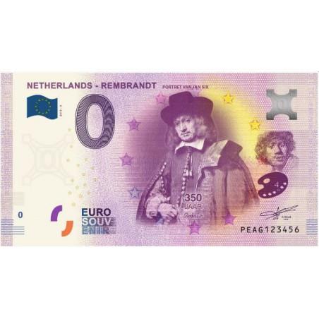0 Euro biljet Nederland 2019 - Rembrandt Portret van Jan Six