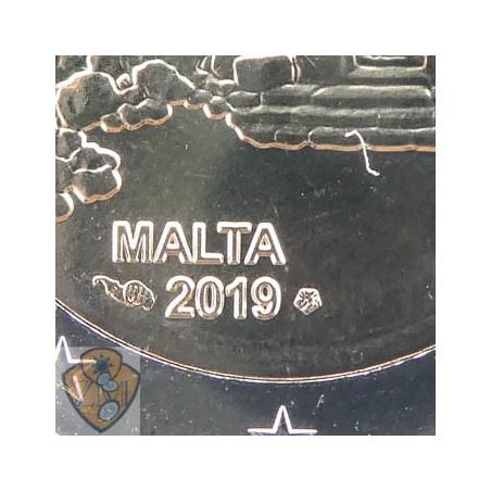 2 euro Malta 2019 Tempel Ħaġrat in coincard Met Frans muntteken Unc