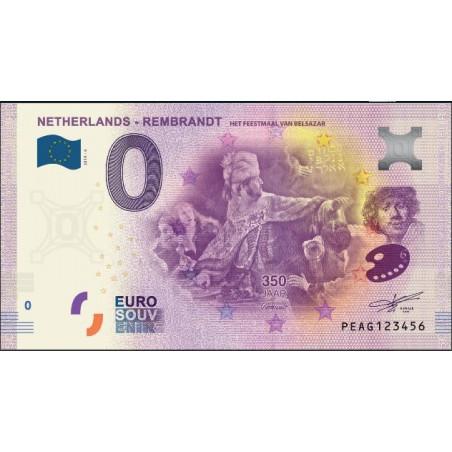 0 Euro biljet Nederland 2019 - Rembrandt Het Feestmaal van Belsazar