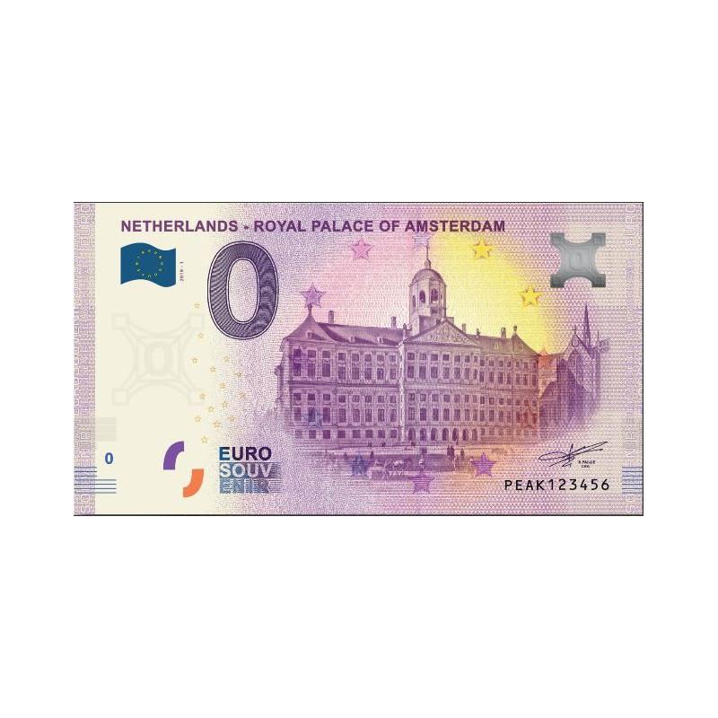 0 Euro biljet Nederland 2019 - Royal Palace of Amsterdam