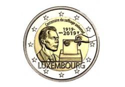 2 euro Luxemburg 2019 100 jaar Stemrecht Unc met muntteken Servaas