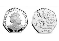 Isle of man 2019 50 Pence Unc Kapitein Haak
