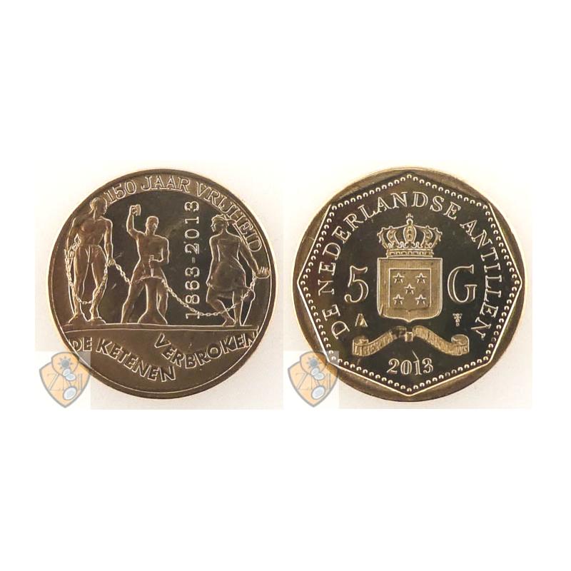 5 Gulden Nederlandse Antillen 2013 ABS Slavernij Voorverkoop*