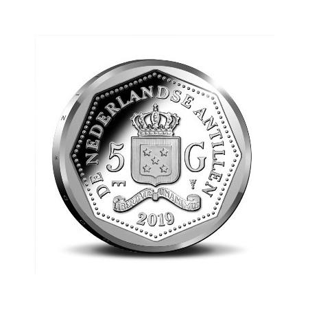 5 Gulden Nederlandse Antillen 2019 Proof zilver 65 jaar Monumentenzorg