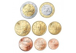 Serie Griekenland 2014 UNC met de normale 2 euromunt