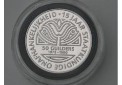 Suriname 1990 50 Gulden Proof 15 jaar onafhankelijkheid Incl dsj